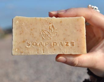 Unwrapped Handmade Oatmylk Soap, natural soap, large soap, vegan soap