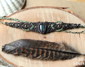 macrame labradorite tiara with brass beads brown mintgreen
