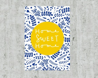 Housewarming Gift, Home Sweet Home Print, Blue and Yellow Home Decor, Royal Blue Wall Art, New Home Gift, Floral Print, Home Print