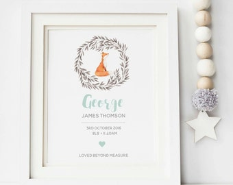 Fox Birth Print - New Baby Print - Birth Print - Nursery Print