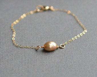 Gold Organic Freshwater Pearl Gold Bracelet Dainty Delicate Natural Pearl Wire Wrapped Bracelet Mother's Day Gift Simple Pearl Jewelry