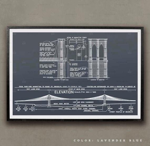 Brooklyn Bridge Blueprint New York City Architecture