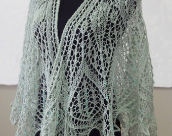 Beaded Lace Knit Shawl, Australina Merino, Pale Eucalypt, Jade Beads, Hand knitted, Handmade, Gift for Her, Special Occasion, Bohemian Style