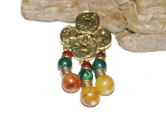 Lucky Coin Jewelry, Chinese Lucky Coin Brooch, Chinese New Yeah, Chinese Jewelry, Tribal Jewelry, Oriental Design, Beaded Brooch