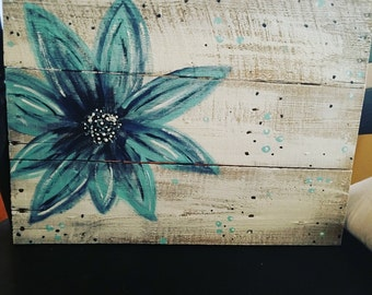 Flower Painting on Reclaimed Wood
