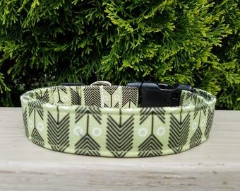 Green and Black Modern Arrow Fabric Dog Collar/Adjustable Custom Collars for Dogs/Hip Tribal Dog Gifts