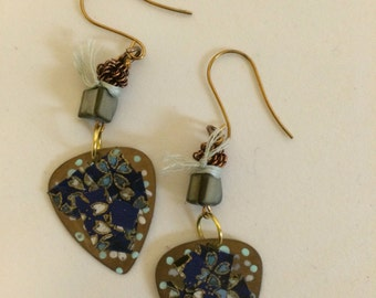 Abstract Blue Flowers Guitar Pick Earrings