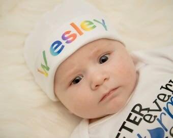 Personalized Rainbow Baby Knit Hat, Newborn Baby Hat, Rainbow Newborn Hat, Baby Boy Knit Hat, Hospital Newborn hat, Rainbow Baby Beanie, Hat