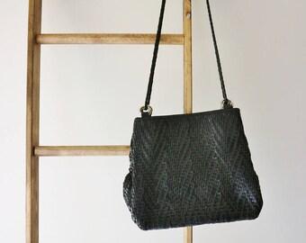 Black Woven Shoulder Bag - Leather Handbag - Vintage Shoulder Handbag
