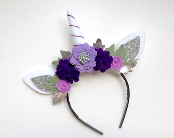Unicorn Princess Felt Horse Ear headband - shades of purple with glitter silver and green leaves