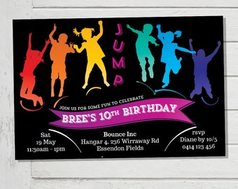 Trampoline Party Invitation Jump Bounce Inc Play Centre Birthday Party Invite Rainbow Colors Colours