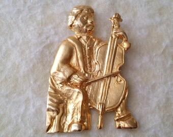 STUNNING Vintage Gold Tone Signed ELLE Musician Pin Brooch