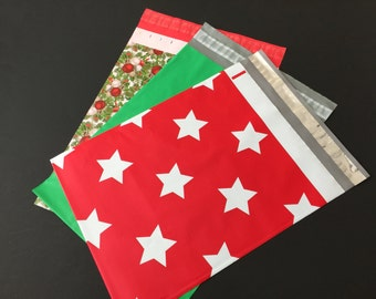 25  10x13 CHRISTMAS Assortment HOLLYBERRY and Christmas Stars and Solid Green Poly Mailers Self Sealing Envelopes