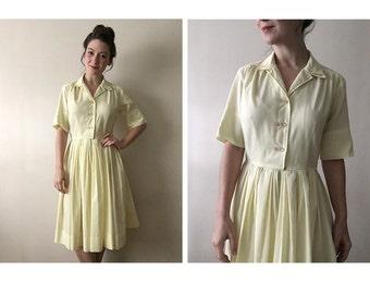 Yellow Crepe Dress | 50s day dress | vintage 1950s dress