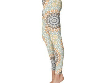 Custom Yoga Leggings - Orange and Blue Funky Tribal Leggings, Kaleidoscopic Gray Mandala Pattern Boho Leggings