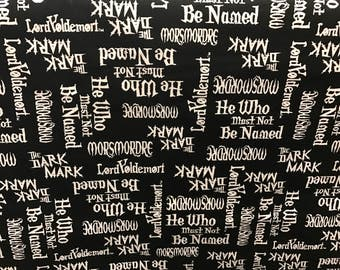 Harry Potter fabric, He who must not be named, movie fabric, licensed fabric, Harry Potter
