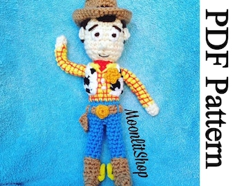Toy Story Inspired Crochet Woody Amigurumi Doll English PDF Pattern