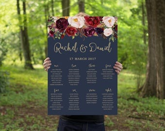Wedding Seating Chart | Printable Seating Chart | Navy Gold Wedding Seating Plan | Boho Floral Wedding Stationery | The Lucy Suite