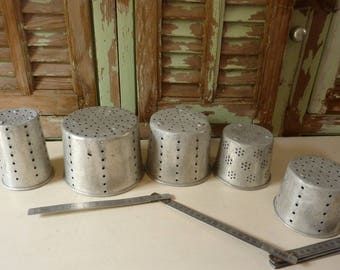 lot of 5 former cheese french aluminium mould form cheese molds