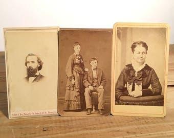 CDV Collection: Visual Impairments, Lot of Three (3) Carte De Visite Images, 19th Century Antique Photos