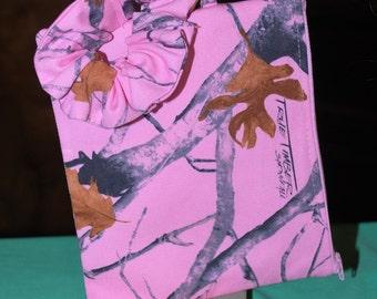 Lined Wristlet Zipper pouch  Pink Camo or Purple print Makeup Bag