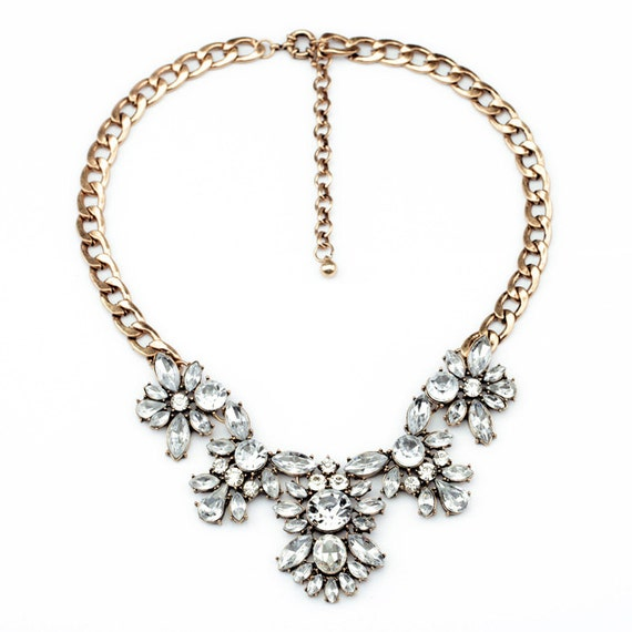 Andrea Floral Bib Statement Necklace / Bold and Beautiful / Choker / Pendant / Bib/ Crystal Necklace