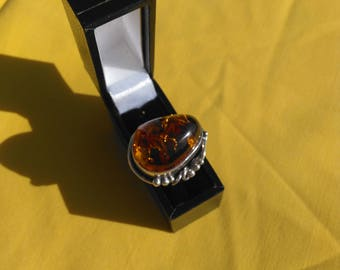 Large amber ring, xl fit silver amber ring, statement ring,