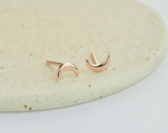Rose Gold Little Crescent Moon Stud Earrings - Lunar, Nature, Dainty, Cute. Sterling Silver, Rose Gold Vermeil