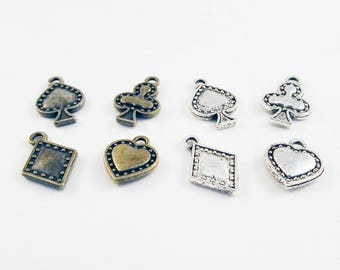BP64 - charm Spades heart Diamond Shamrock card Poker silver Bronze / Silver Bronze Playing Card Pendants Casino Club Diamond Heart Spade