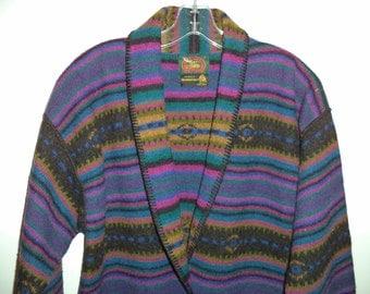 Southwest boho jacket// 90's wool Indian blanket bohemian sweater coat// Vintage Alps// Women's size small and medium