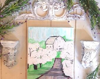 Barn painting, white barn, farmhouse wall decor painting, farm landscape painting, apple tree blossom painting, vintage style decor
