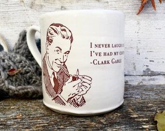 Large white coffee mug with retro man vintage design