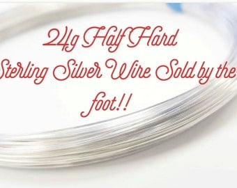Sterling Silver 24 Gauge Half Hard Round Wire By the Foot