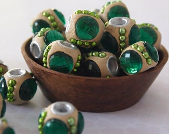 8 Kashmiri Beads Round Handmade Clay Ethnic Beads Ochre Green Emerald Size 11 x 13mm Hole 3mm