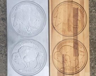 Indian Head/ Buffalo Nickel carved plaque