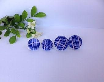 Handmade Blue & White Stripe Fabric Button Earrings