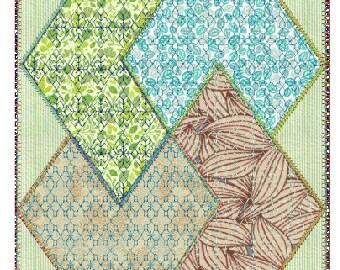 design 6 quilt block embroidery Applique design, 4 sizes, 8 formats(dst,exp,jef,hus,pes,vip,vp3,xxx),instant download, 1 zip file with PDF