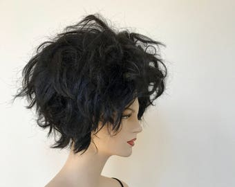 Vintage brown stacked bob wig