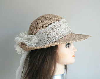 Womens Large Brim Sun Hat With Lace Back Bow