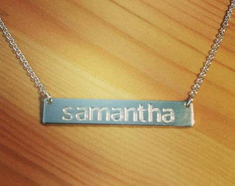 Silver Bar Necklace / Sterling Silver Horizontal Bar / Date / Text /Name /Initial Engrave / Kim Kardashian Name Necklace / Cyber Monday Sale