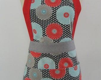 Grey and white polka dots/turquoise and orange flowers apron. Modern Apron. . Cotton Apron. Women's apron