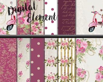 Digital Paper, Digital Scrapbook Paper, Shabby Chic Pink Rosy Digital Paper, Vintage Wedding Floral Paper, Watercolor Rose Paper. No.P154
