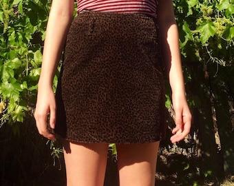 Corduroy leopard print skirt