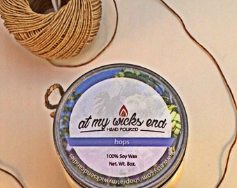 Hops/Beer Soy Candle//8 oz.Mason Jar Candle//Essential Oils//Scented Candle