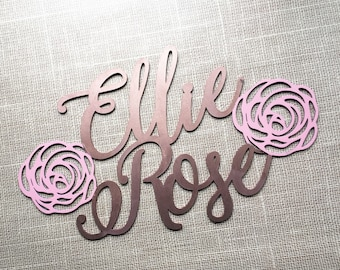 Personalized Cutout Name Sign - Girls Room Decor - Baby Shower Decor - Rose Name Sign - Calligraphy Name Sign - Laser Cut