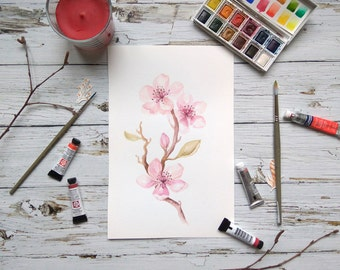 Original wall art Watercolor Paintings, Blossom flower Watercolors, blossom Print, Watercolor Flowers, Painting ,botanical watercolor art