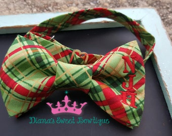 Christmas bow tie, red bow tie, plaid bow tie, boys bow tie, santa bow tie, gold bow tie, mens gift, personalized bow tie, winter bow tie