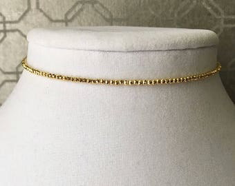 2mm Golden pyrite beaded choker with adjustable extender closure
