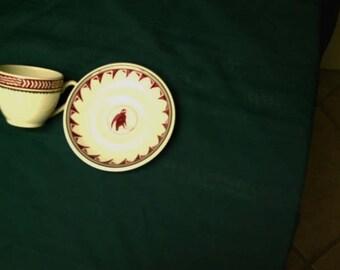 Summer Sale Free Shipping MIMBRENO-Pipestone- Santa Fe Cup and Saucer - Burgundy-Coffee-Cup-Mug Bird Saucer