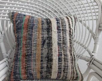 Vintage Turkish Kilim Pillow Decorative Kilim Pillow 16x16 Multicolour Pillow Ethnic Pillow Throw Pillow Floor Pillow Bohemian Pillow  975